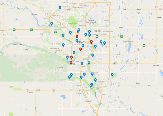 Map of Calgary Park lunch locations of catering a corporate picnic event or private picnic